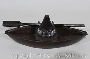 19th Century Black Forest Carved Boat Inkwell with Fountain Pen Shaped as Oar