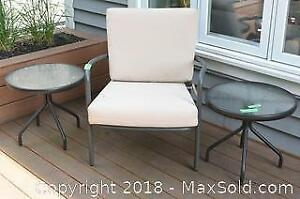 Garden Chair, 2 Patio Side Tables - B