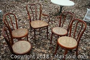 Five Caned Wood Chairs - C