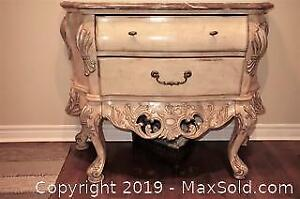 Romantic, vintage style cabinet with marble top and carvings B