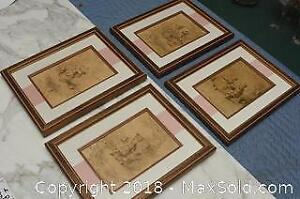 Antiqued Collection Of 4 French Prints A