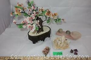 Natural stones, Chinese glass tree and picture holder A
