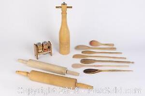Lot of wooden kitchen Tools including Vintage Wooden Bar Set