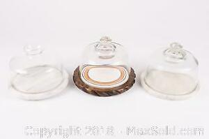 Three Vintage Glass Dome Covered Cheese Dishes, Two Marble