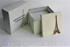 New In Box Eiffel Tower Stone Coasters from Restoration Hardware
