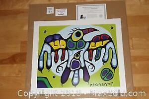 Native Ojibway Norval Morrisseau THUNDERBIRD PROTECTS YOUNG unframed print with COA