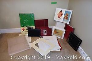 Photo albums, decorative paper mat boards and prints B