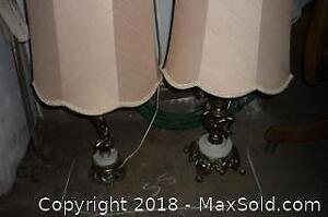 Two brass table lamps. -A