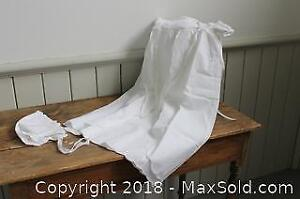 Very Fine Batiste Cotton Infant's Baptismal/Christening Gown and Bonnet, NEW