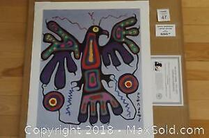Native Ojibway Norval Morrisseau BLUE THUNDERBIRD unframed print with COA