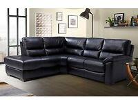 DFS Lynx corner sofa black leather