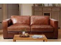 BROWN LEATHER SOFA BED BRAND NEW GOING CHEEP
