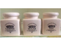 Kitchen storage canister jars 3 coffee sugar tea