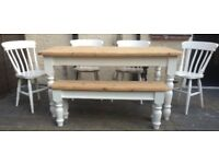 Solid pine farmhouse table & chairs+ bench