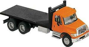 International 7600 3 Axle Orange Flatbed Truck HO 1//87 Scale Walthers 949-11651