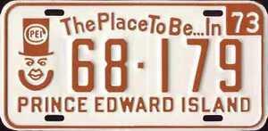 1973 PEI Licence Plate