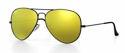 Ray Ban 3025 58 Aviator Black Negro Sunglasses Remix Oro Espejo Lentes...