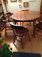 50 Year Old Knotty Pine Dining Table with Chairs