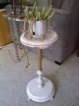 Milkpaint off-white plant stand / ash-tray stand - Vintage Cambridge Kitchener Area image 4