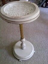 Milkpaint off-white plant stand / ash-tray stand - Vintage