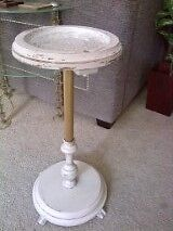 Milkpaint off-white plant stand / ash-tray stand - Vintage Cambridge Kitchener Area image 3