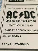 2 x ACDC SUNDAY 6 DECEMBER 2015 ARENA 1 STANDING Southbank Melbourne City Preview