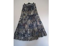 Boho Indian print tiered long skirt- Size M