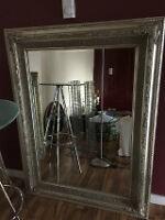 Antique Silver Wooden Framed Mirror