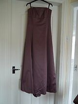 Aubergine dress for evening wear, prom, bridesmaid + shawl; made by Debut, Aubergine, size 8, VGC