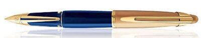 WATERMAN EDSON SAPHIRE BLUE & GOLD TRIM  FOUNTAIN PEN  MEDIUM PT IN BOX **