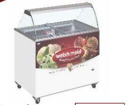 Ice cream scooping freezer with canopy