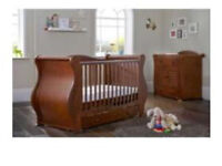 Tutti bambini cot sleigh bed and matching drawers/changer in walnut