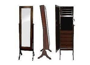 Brand New Elise Jewellery Armoire Mirror Cabinet Cherry Wood 30%