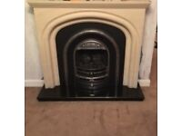 Sandstone Effect Fire Surround with Cast Iron Gas Fire Insert & Black Hearth