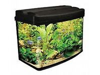 Nearly new 65L fish tank, comes with filters, in built lights, net and cleaning products.