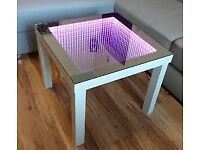 Modern Coffee Table LED 3D Illuminated INFINITY MIRROR GLASS TOP WITH SOUND SENSORS #