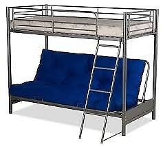 SILVER HIGH SLEEPER BED WITH LIGHT BLUE / CHINESE SYMBOL FUTON SEE PICS
