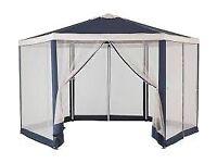 Home 4m Hexagonal Garden Gazebo with Side Panels -Blue
