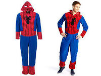 NEW Mens Large Marvel Comics Spiderman Onesie With Spiderman Hood New Without Tags