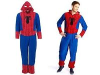 Halloween NEW Mens Large Marvel Comics Spiderman Onesie With Spiderman Hood New Without Tags