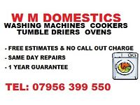 WM Appliance Repairs. Washing machine repairs, tumble driers, cookers & ovens.
