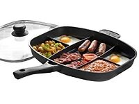 Multi section large frying pan can be used in oven to 180 degrees
