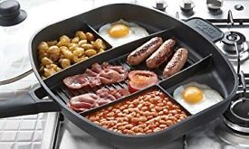 Cooks professional multi section frying pan with lid