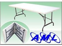 NEW 6ft fold in half table - office, dining, parties, catering, marquee, car boots, markets stalls,