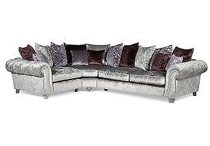 Scs Quantas Silver Crushed Velvet Corner Sofa Love Cuddle Chair Brand New Cost 2300