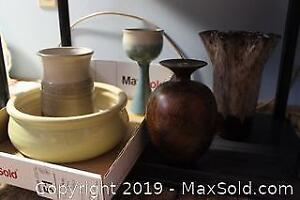 Clay Vases, Goblet and Bowl. A