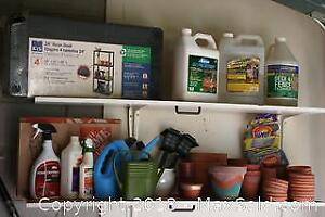 New Utility Shelf, Seed Spreader, New Hose, Mulch and Other Garden Supplies