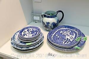 Blue China Plates and Vase A