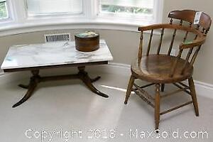 Marble Coffee Table And Vintage Chair- C