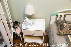 Bed, Bedside Lamp And Table C